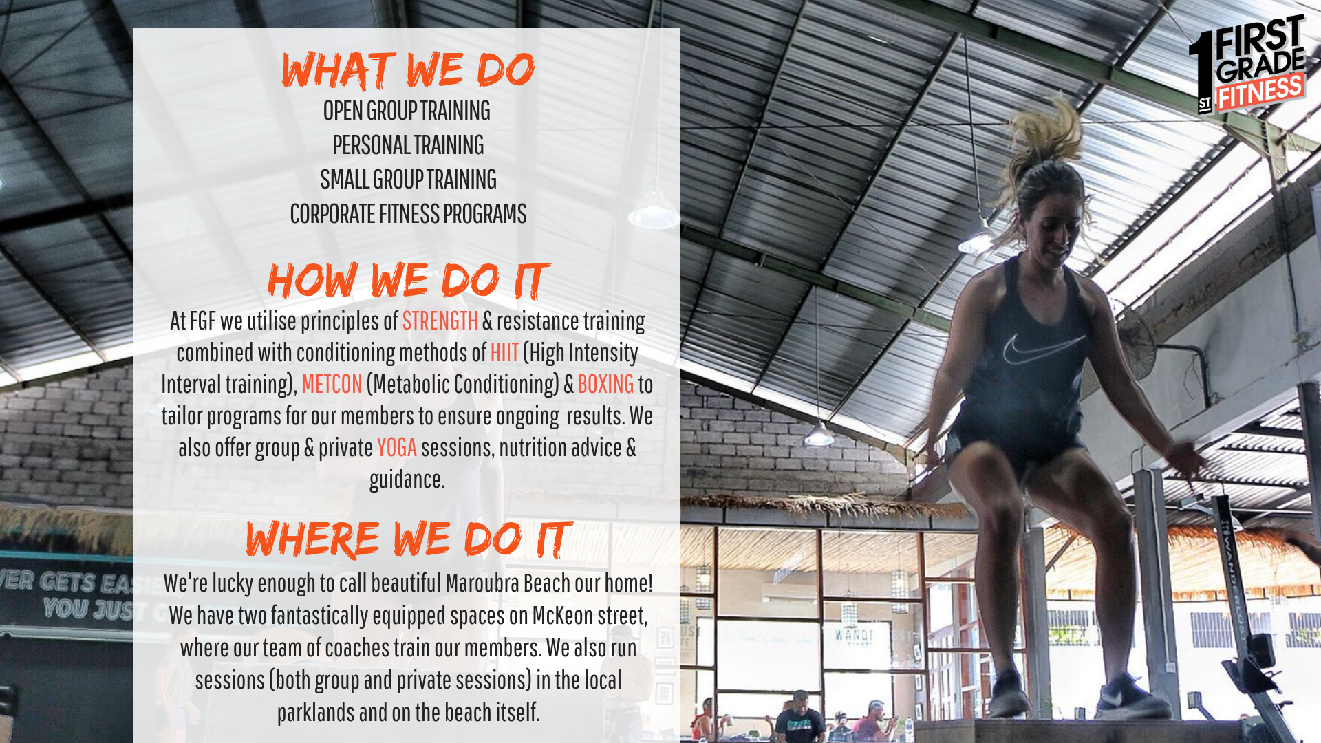 First Grade Fitness Group Personal Training Sydney
